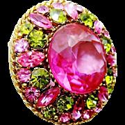 Vintage Regency Pink Green Rhinestone Brooch