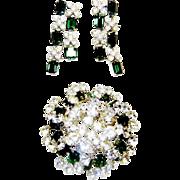Vintage DeNicola Brooch Earrings Green Baguette Rhinestones Diamantes