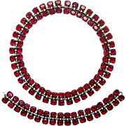 SALE Vintage Trifari Sterling Necklace Bracelet Ruby Red Rhinestone Book Set Ad