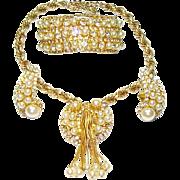 Vintage Hobe Necklace Bracelet Earrings Fx Pearls Dangles Rhinestones