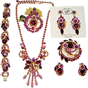 SALE Vintage Juliana Purple Chalk 2 Necklaces Bracelet Brooch 2 Pr Earrings D&E Book Set