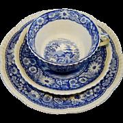 Coalport Trio Blue Cup Saucer Plate Pastoral Horse Transferware