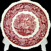 Mason's Vista Pink Red Transferware Plate