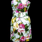 Vintage Oscar de la Renta Dress Strapless Silk Satin Party ILGWU Label
