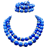 REDUCED Vintage Blue Marbled Lucite 2 Necklace Bracelet Set Rhinestone Rondelle