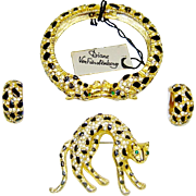 SALE Vintage Diane Von Furstenberg Brooch Bracelet Earrings Enamel Rhinestone DVF Set
