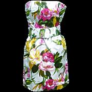 Vintage Oscar de la Renta Strapless Silk Satin Party Dress ILGWU Label