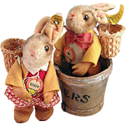 "REDUCED Darling vintage pair of Steiff Bunnies, ""Bib"" and ""Bibbie""."
