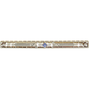 SOLD High Quality .14ct Sapphire Edwardian Brooch 14k Yellow White Gold Long Antique