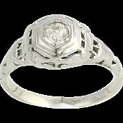.31ct Genuine Vintage Mine Cut Solitaire Diamond Engagement Ring - 14k White Gold Bird Letter