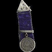 Royal Arch Masonic Antique Medal Sterling Silver Velvet Ribbon c.1850-70 Masons