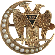 SOLD Antique 32nd Degree Scottish Rite Badge - 10k Solid Yellow Gold Seed Pearl Eagle