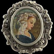 Art Deco Brooch Pendant - 800 Silver Vintage Woman Filigree Floral Pin Estate