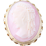 SOLD Vintage Carved Pink Shell Cameo Brooch Pendant - 14k Yellow Gold Estate Woman