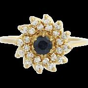 Jabel Diamond & Sapphire Flower Cluster Ring- 18k Yellow Gold High Karat 1.29ctw