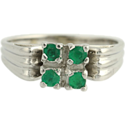 Emerald Ring - 18k White Gold High Karat Women's Gemstone Birthstone May .36ctw