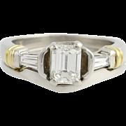 Emerald Cut Diamond Engagement Ring and Wedding Band Sed - 900 Platinum & 18k Gold