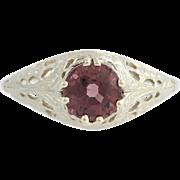 Art Deco Spinel Solitaire Ring - 14k White Gold Filigree 6 1/2 Genuine 1.49ctw