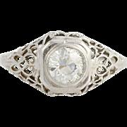 Art Deco Diamond Engagement Ring - 14k White Gold European Cut Genuine .59ctw