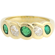 Emerald & Diamond Cocktail Band Ring - 18k Yellow Gold May April Genuine .75ctw