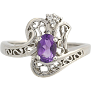 Amethyst & Diamond Cocktail Bypass Ring - 14k White Gold Size 7 Genuine .53ctw