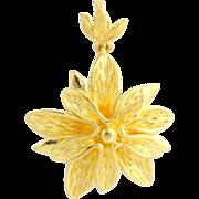 High Karat Flower Pendant - 24k Yellow Gold Women's Textured Petals 6.9g