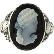 Art Deco Carved Banded Agate Cameo Ring - Sterling Silver Circa 1920s - 1930s
