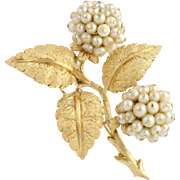 Cultured Pearl Hydrangea Brooch - 18k Yellow Gold Fine Estate High Karat June