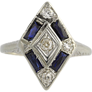 Art Deco Cocktail Ring - 18k White Gold Syn Sapphires Natural Diamonds .45ctw
