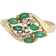 Emerald & Diamond Cocktail Bypass Ring - 14k Yellow and White Gold Genuine .56ctw