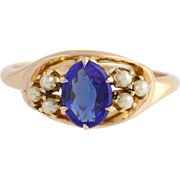 Edwardian Garnet Doublet & Seed Pearl Cocktail Ring- 10k Yellow Gold Size 7 1/2