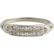SOLD Art Deco Diamond Wedding Band Women's Anniversary 18k White Gold Vintage .14ctw