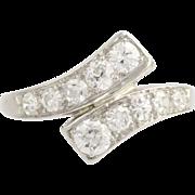 Art Deco Diamond Bypass Ring - Platinum Women's Old European c.1920's - 1930's
