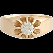 Art Deco Men's Diamond Ring - 14k Yellow Gold .43ct European Solitaire Wedding