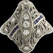 Art Deco Diamond & Syn Sapphire Ring - 18k White Gold .56ctw Cocktail Vintage