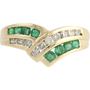 Emerald and Diamond Cocktail Band - 14k Yellow & White Gold Size 7 Genuine .70ctw