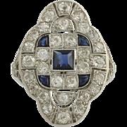Art Deco Diamond & Synthetic Sapphire Cocktail Ring - Platinum Genuine 3.09ctw