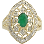 Emerald and Diamond Cocktail Ring - 10k Yellow & White Gold Size 7 Genuine .95ctw