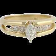 Diamond Engagement Ring - 14k Yellow Gold Natural .56ctw Split Shank