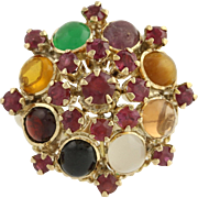 Multi-Gemstone Cluster Cocktail Ring - 14k Yellow Gold Rubies Genuine 2.00ctw