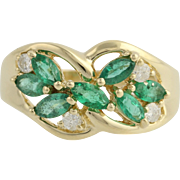 Emerald & Diamond Cocktail Ring - 14k Yellow Gold May Birthstone Genuine .96ctw