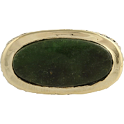Nephrite Jade Cocktail Ring - 14k Yellow Gold Oval Estate