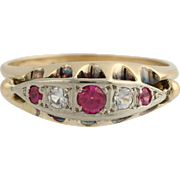 Victorian Revival Cocktail Ring - 14k Gold Syn. Ruby & Syn. White Spinel .40ctw