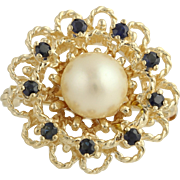 SOLD Akoya Pearl & Sapphire Brooch / Pearl Strand Enhancer - 14k Yellow Gold .45ctw