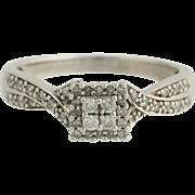 Diamond Engagement Ring - 10k White Gold Size 7 - 7 1/4 Illusion Genuine .25ctw Unique Engagem