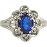 Floral Synthetic Blue & White Spinel Cocktail Ring - 10k White Gold Fine 1.25ctw