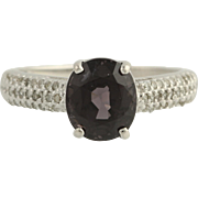 Spinel & Diamond Ring - 10k White Gold Purplish Grey Size 8 Genuine 3.76ctw