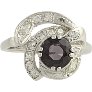 Retro Spinel & Diamond Cocktail Ring - 14k White Gold Size 4 3/4 Genuine 2.06ctw