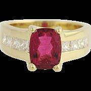 Rubellite Tourmaline & Diamond Ring - 18k Yellow Gold Size 6 3/4 Genuine 3.14ctw