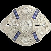 Art Deco Diamond & Synthetic Sapphire Cocktail Ring - Platinum 6 Fine 1.14ctw